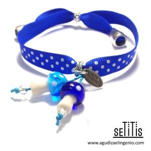 "Pulsera ""Setitis"" lazo de lunares azul eléctrico"