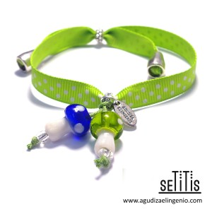 "Pulsera ""Setitis"" lazo de lunares verde"