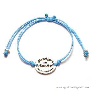 """Pulsera """"Persigue tu Sueño"""" cordón azul ajustable"""