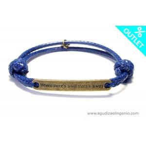 Pulsera cordón azul con mensaje