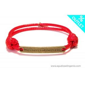 Pulsera cordón rojo con mensaje