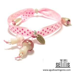 """Pulsera """"Setitis"""" lazo de lunares rosa"""