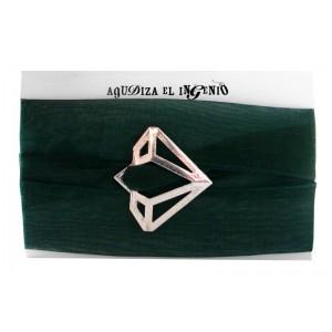 """Pulsera """"Reinvéntate"""" diamante plata y organza verde"""