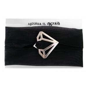 """Pulsera """"Reinvéntate"""" diamante plata y organza negra"""