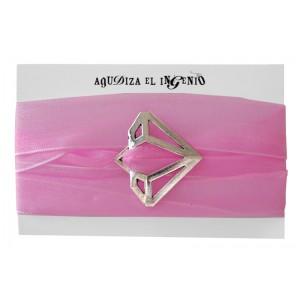 """Pulsera """"Reinvéntate"""" diamante plata y organza rosa"""
