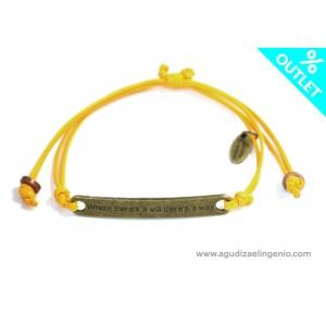 Pulsera cordón fino amarillo con mensaje