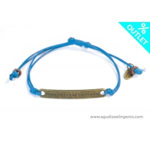 Pulsera cordón fino azul con mensaje