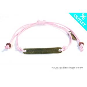 Pulsera cordón fino rosa con mensaje