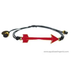 Pulsera metal dorado flecha esmaltada roja