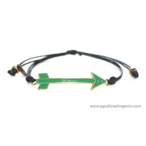 Pulsera metal dorado flecha esmaltada verde