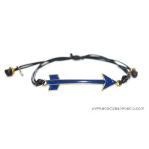 Pulsera metal dorado flecha esmaltada azul