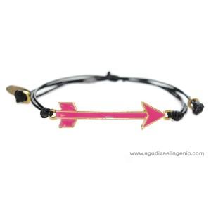 Pulsera metal dorado flecha esmaltada rosa