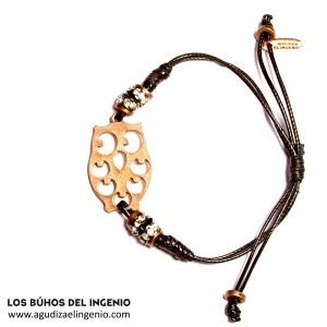 """Pulsera """"Los Búhos del Ingenio"""" Bling Bling color cobre"""