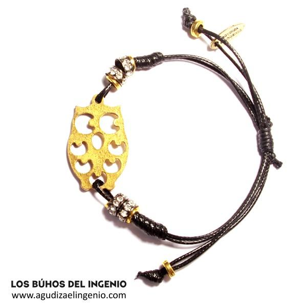 """Pulsera """"Los Búhos del Ingenio"""" Bling Bling color oro"""