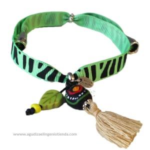 "Pulsera ""Afrochic"" lazo cebra verde"