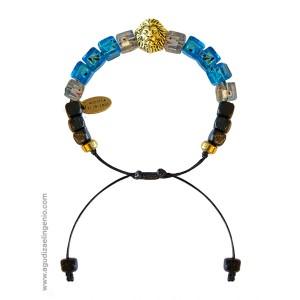 """Pulsera azul """"Afrochic"""" cuentas lava y elefante  (copy)"""