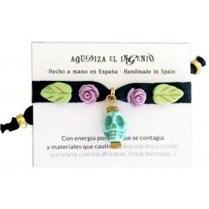 "Pulsera ""Amuleto tú"" calavera turquesa"