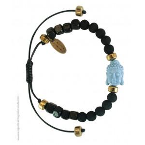 "Pulsera ""NAMASTE"" lava negra y Budha celeste"
