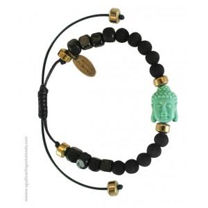 "Pulsera ""NAMASTE"" lava negra y Budha verde"