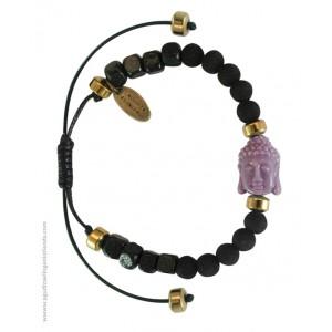 "Pulsera ""NAMASTE"" lava negra y Budha violeta"