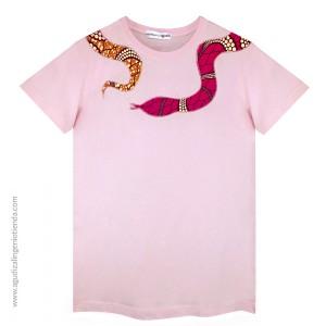 "Camiseta ""Afrochic"" serpiente rosa talla G"