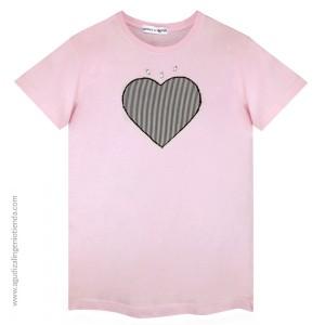 "Camiseta ""Love"" corazón rayas talla G"