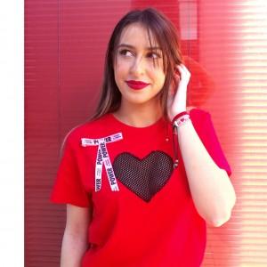 "Camiseta ""Love"" corazón rejilla talla G"