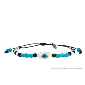 """Pulsera """"Amuleto tú"""" azul ojo turco blanco"""