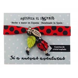 "Pulsera ""Setitis   Co"" mariquita lazo rojo"
