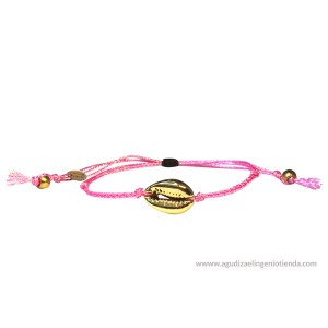 "Pulsera ""Libre como el mar"" concha dorada hilo rosa"