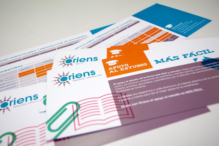 Flyer divulgativo para el centro de Apoyo al estudio, Oriens.